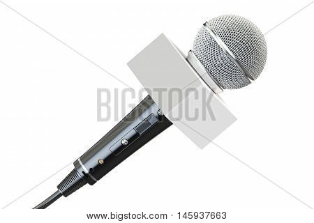 microphone with white box 3D rendering isolated on white background