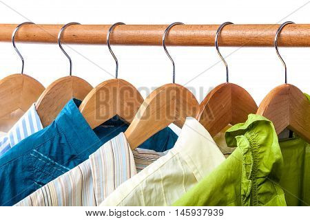 Clothes on hangers isolated on a white background.