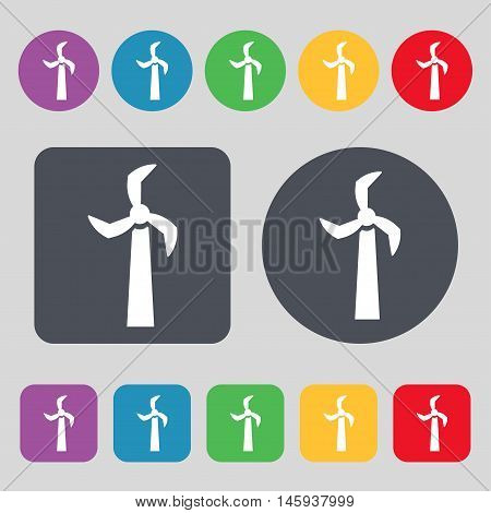 Windmill Icon Sign. A Set Of 12 Colored Buttons. Flat Design. Vector