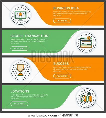 Set of flat line business website banner templates. Vector illustration. Modern thin line icons in circle. Business Ideas Secure Transation Success Locations