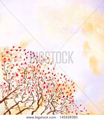 abstract watercolor background with trees and autumn leaves