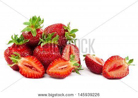 Fresh strawberry fruit isolated on white background.