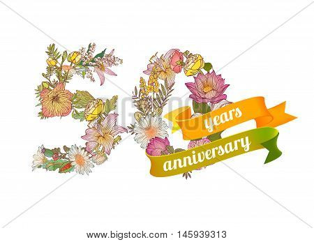 fifty (50) years anniversary sign of floral digits