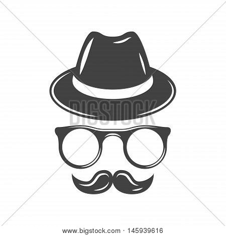 Hipster retro hat eyeglasses and moustache. Black icon logo element flat vector illustration isolated on white background.
