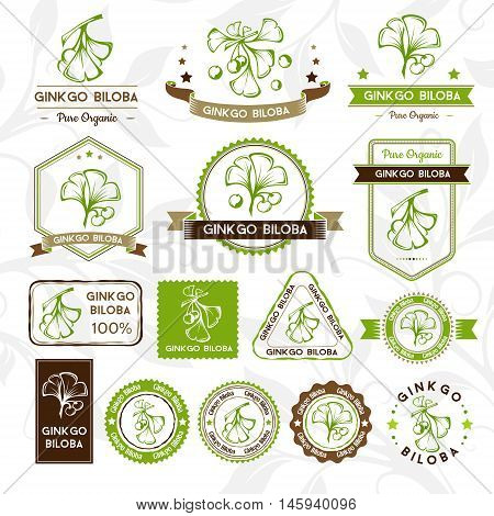 Ginkgo biloba. Labels stamps and badges collection. Vector decorative isolated elements for package design.