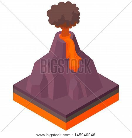 Volcano erupting icon in cartoon style on a white background vector illustration