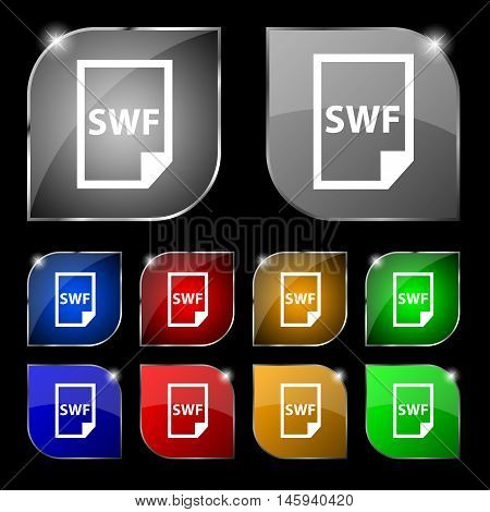Swf File Icon Sign. Set Of Ten Colorful Buttons With Glare. Vector