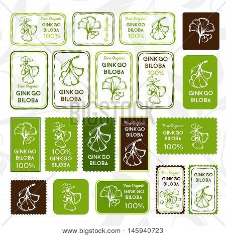 Ginkgo biloba. Stamps and stickers set vertical and horizontal. Vector decorative isolated elements for package design.