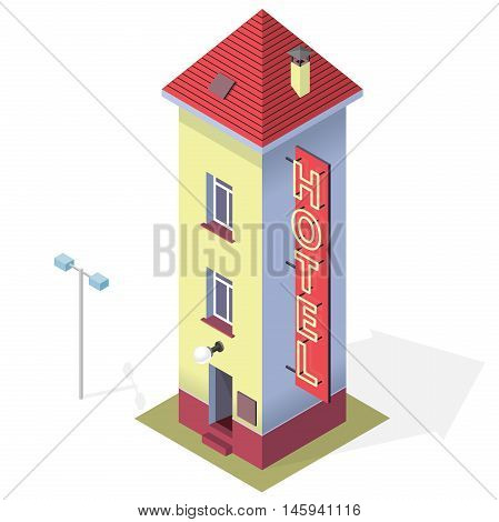 Funny small hotel. Tall and slim hostel. Isometric hotel building with red roof. Funny architecture. High and comical building with chimney. Towering, svelte motel. Isolated master vector illustration
