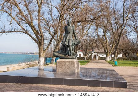 Taman, Russia - March 8, 2016: Mikhail Lermontov Monument In Taman, Located On The Shore Of The Azov