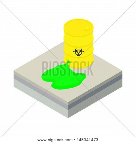 Toxic waste spilling from barrel icon in cartoon style on a white background vector illustration