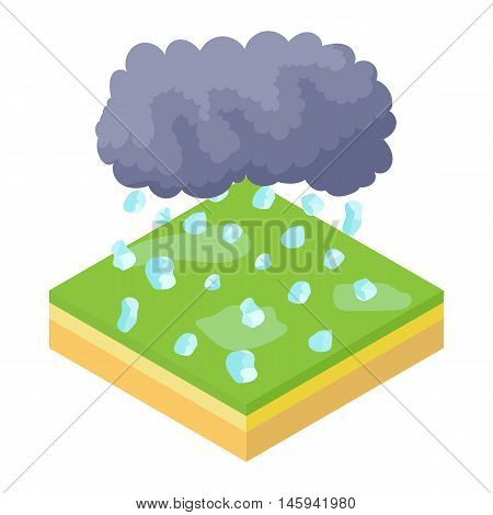 Cloud and hail icon in cartoon style on a white background vector illustration