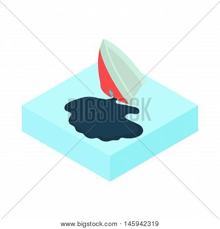 Oil tanker accident with an oil slick icon in cartoon style on a white background vector illustration