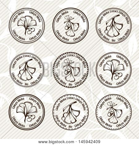 Ginkgo biloba. Circle stamps collection. Vector decorative isolated elements for package design. Monochrome version