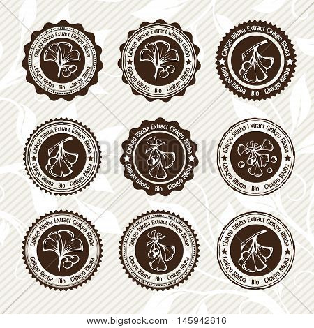 Ginkgo biloba. Circle stamps and stickers set. Vector decorative isolated elements for package design. Monochrome version