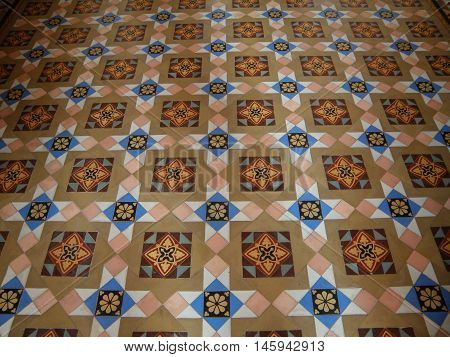 Indian Style Pattern Inlaid Marble Floor in the Old Palace of Rajasthan, India