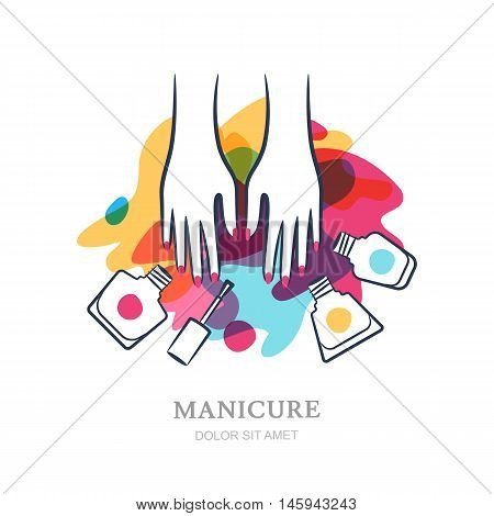 Female hands on color nail polish splash background. Vector logo label emblem design elements. Concept for beauty salon manicure cosmetic Womens hand nail polish jar and brush.