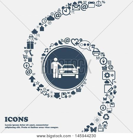 Person Up Hailing A Taxi Icon In The Center. Around The Many Beautiful Symbols Twisted In A Spiral.