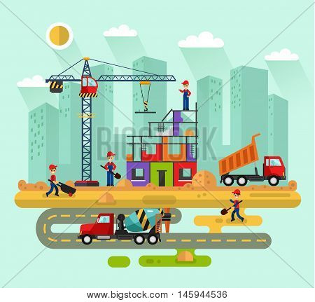 Flat design vector landscape illustration of construction process in the city. Including crane and concrete mixer on the road, cement, unloading truck with sand. Workers or builders build a house.