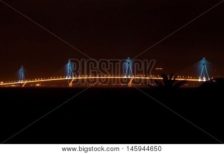 The Night Shot of Rio-Antirio Bridge in Patras city of Greece