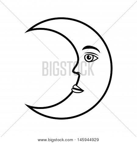moon crescent face night nature moonlight vector illustration