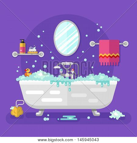 Vector flat style illustration of bathroom interior and appliances: mirror, shelf for soap and cream, towel, sponge, water tap, bathtub, duck. Relaxing bubble bath full of water.
