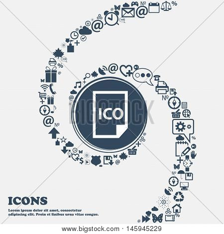 File Ico Icon In The Center. Around The Many Beautiful Symbols Twisted In A Spiral. You Can Use Each