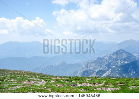 Top view of the mountain ridge in summer, Pyrenees, Girona, Alp, Catalonia, Spain