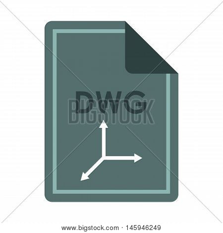 File DWG icon in flat style isolated on white background. Document type symbol vector illustration