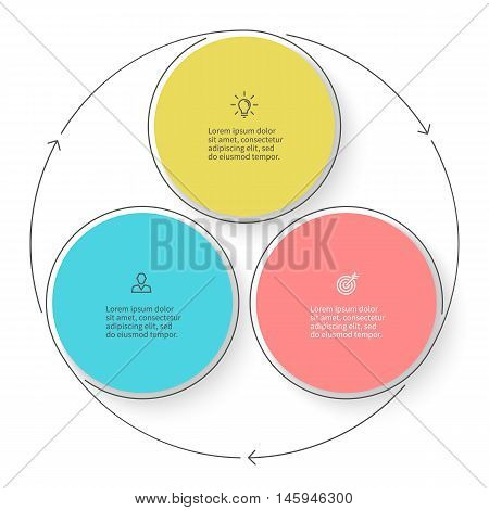 Three steps infographics with arrows. Vector design element.