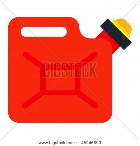 Red metal fuel tank or jerry can for transporting and storing gasoline or jerry can diesel fuel on white background. Jerry can fuel container gasoline tank diesel oil energy bottle transportation.