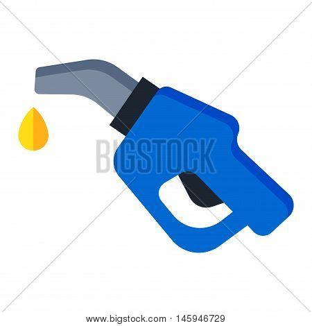 Automotive refueling gun benzine pollution power. Car fuel pistol nozzle car petroleum energy refueling industry transport symbol. Isolated fuel pistol tank petrol gas station nozzle economy vector.