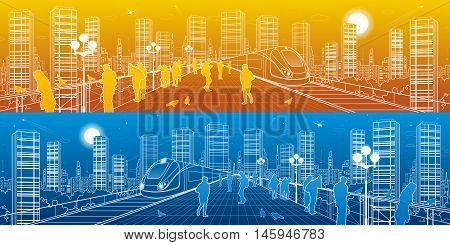 City life amazing panorama. People watching from the bridge to the megalopolis, train move, infrastructure and transportation illustration, urban skyline, day and night, vector design art