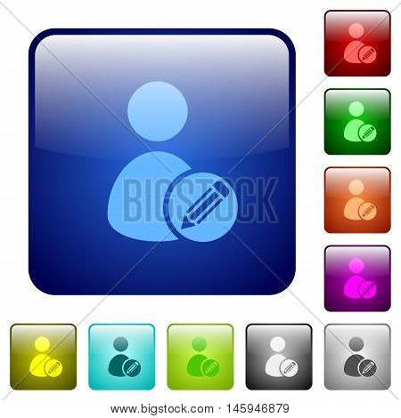 Set of edit user account color glass rounded square buttons
