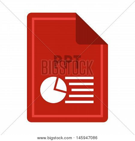 File PPT icon in flat style isolated on white background. Document type symbol vector illustration