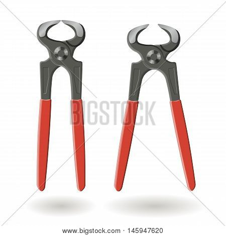 Set Of Two Steel Cutting Pliers , Pincers, Isolated On White Background, Realistic Vector Illustrati