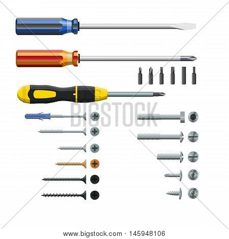 Set Of Three Different Screwdrivers, Bits And Screws, Isolated On White Background, Realistic, Vecto