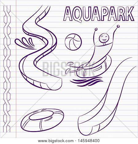 Hand drawn aqua park icons. Aqua park vector.