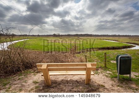 Wooden Bench River Valley View