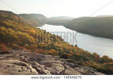 Bluffs and Trees Above Lake of the Clouds with Fall Colors in Michigan
