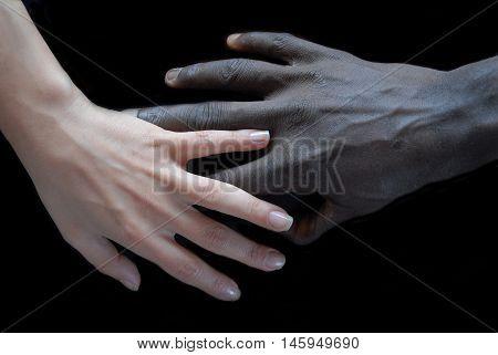 Handshake concept of no apartheid. Hands black and white