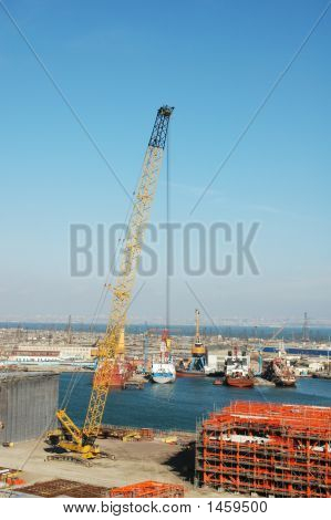 Crane At Construction Site In The Port