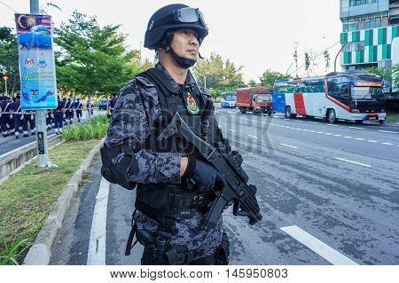 Kota Kinabalu,Sabah-Aug 31,2016:Military man guarding during on National day,celebrating the 59th anniversary of independence on 31st Aug 2016 at Kota Kinabalu,Sabah,Borneo.