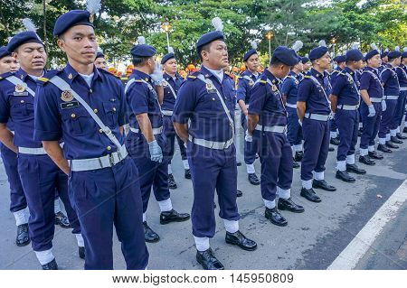 Kota Kinabalu,Sabah-Aug 31,2016:Royal Malaysian Police PDRM march during participate in National Day parade,celebrating the 59th anniversary of independence on 31st Aug 2016 at Kota Kinabalu,Sabah.