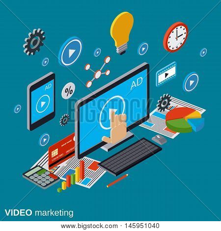 Video marketing, advertising, promotion flat isometric vector concept