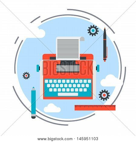 Retro typewriter flat design style icon. Publishing, journalism, blogging vector illustration