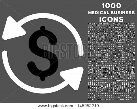 Money Turnover vector bicolor icon with 1000 medical business icons. Set style is flat pictograms, black and white colors, gray background.