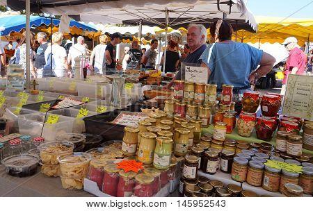 St Aygulf, Var, Provence, France, August 26 2016: Provencal Market Stall Selling Mustard, Antipasti