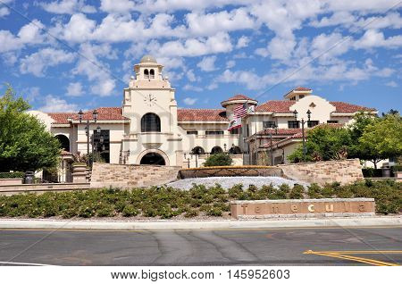 View of Temecula City Hall with a backdrop of clouds in southern California.