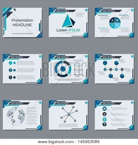 Professional business presentation, slide show vector geometric design template
